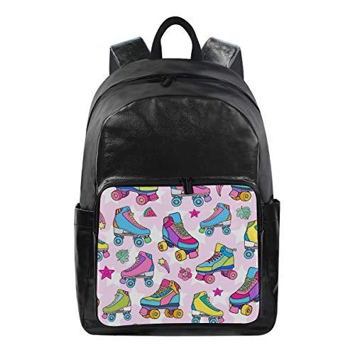 QMIN Rucksack mit buntem Rollschuh-Muster, modische Büchertasche, wasserdicht, für Reisen, College, Segeltuch, Tagesrucksack, Schultertasche, Organizer für Jungen, Mädchen, Damen, Herren