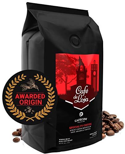 Café de Loja | AWARDED | High Altitude Specialty Whole Bean Coffee Medium/Dark Roast - Low Acid Single Sourced Gourmet Beans - Best Arabica Coffee Beans Coffee For Espresso, Cold Brew and more - 32 OZ