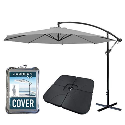 Jarder Libra Garden Parasol Set Cantilever Umbrella, 4-Piece Base and Waterproof Cover (3m Parasol, Grey)