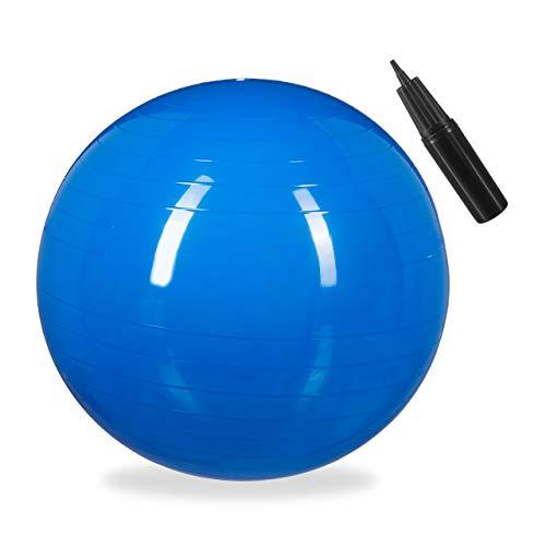 1 x Gymnastikball, Fitnessball Yoga & Pilates, Sitzball Büro, Balance Ball inklusive Luftpumpe, Ø 85 cm, blau