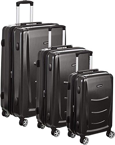 AmazonBasics 3 Piece Hard Shell Luggage Spinner Suitcase Set - Slate Grey