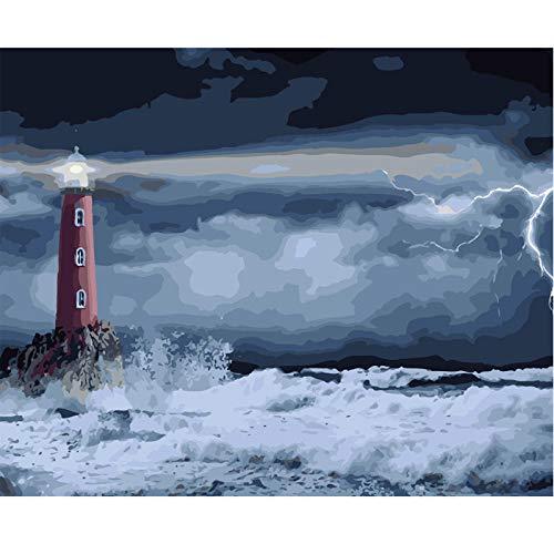 Luckyjun Pintar por Número Faro De Surf Poster Canvas Kit De Pintura De Lona De Bricolaje Cuadros De Pared para Decoración Pinturas Artísticas En Impresiones De Pared Vintage Decoración De Arte De P