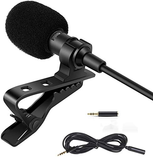 TXuan Professional Lavalier Lapel Microphone Kit, 3.5mm Omnidirectional Condenser Mic Easy Clip On Microphone for Android/iPhone/PC/Camera for Interview, YouTube, Video Conference, Podcast