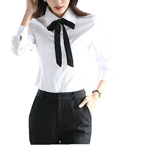 Taiduosheng Blusas de manga larga con botones blancos para mujer, camisas de trabajo con corbatas