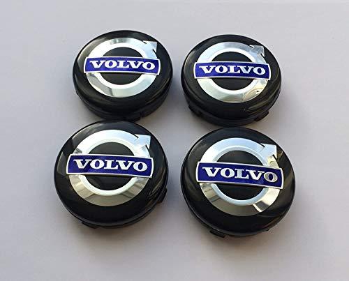 oem vl, juego de 4 tapas de llanta, 30666913, 3546923, 8646379, negro/azul, con logo, 64 mm