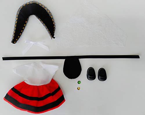 Folk Artesanía Vestido y complementos Regional típico Asturiana muñeca Barriguitas de Famosa. Muñeca no incluida en el Lote.
