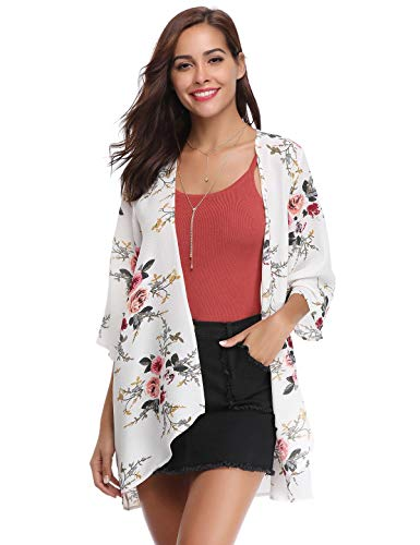Aibrou Women's Floral Kimono Cardigans,3/4 Sleeve Tops Loose Floral Blouse Casual Boho Style Capes(Blanco M)