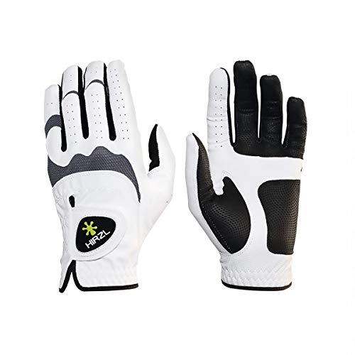 HIRZL Trust Hybrid Golf Gloves, Mens Golf Glove, White Black, Nylon, Kangaroo Leather, Polyester, Ultimate Grip, Wet Dry, Ergonomic Fit, Breathable, Sweat Free, Water Repellent, Cadet XL, Left Hand