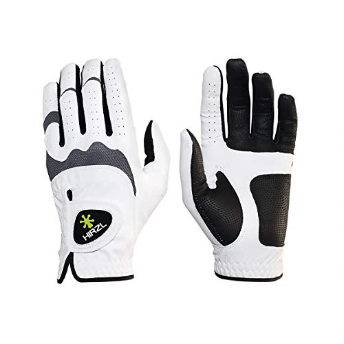 HIRZL Trust Hybrid Ladies Golf Gloves - All Weather Womens Golf Glove, White/Black, Nylon, Kangaroo Leather, Polyester, Ultimate Grip (Wet/Dry), Ergonomic Fit, Breathable, Medium, Worn on Left Hand