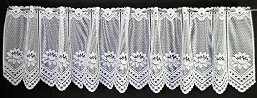 Tenda della finestra ninfea altezza 45 cm | Può scegliere la larghezza in segmenti da 23 cm, come vuole | Colore: Bianco | Tendine cucina