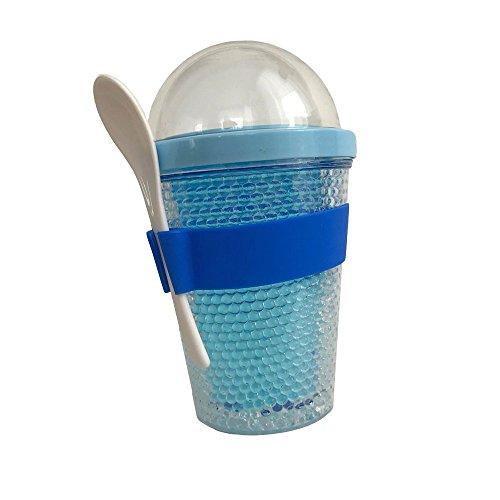 PREMIUM Müslibecher to Go, 300 & 100 ml Füllmenge, inkl. Löffel und Besfestigungsband, doppelt beschichtet, blau