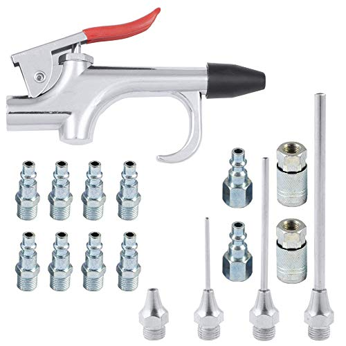KingBra - Juego de pistola de aire con 5 boquillas intercambiables y disparador de tamaño grande + 1 inflador de neumáticos, medidor de presión de aire de neumáticos con portabrocas de bloqueo