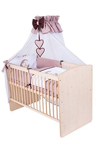 KMbaby Babybett K2 Naturholz Farbe 120x60 mit 10tlg Bettwäsche Set Matratze Gitterbett Teddybär auf dem Mond braun
