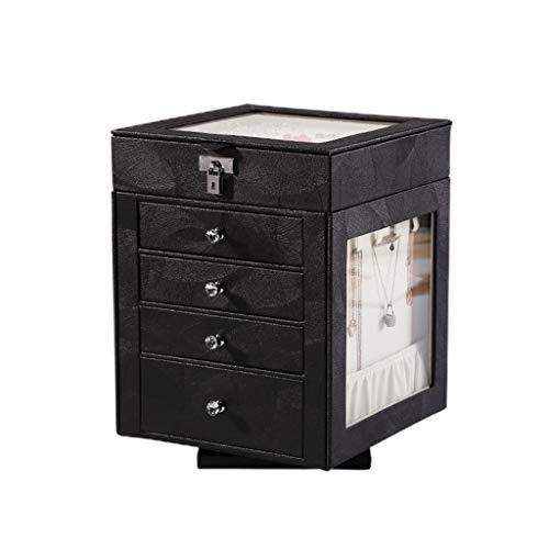 JINDAO Caja de almacenaje Al estilo europeo de joyería rotación de caja, de gran capacidad, pendientes de lujo de gama alta, pendientes, collares, horquillas de cambio de joyas, Contenedores de tejido