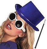 Labreeze Lila, Satin-Hut, silberfarbene Röhrengläser von Willy Wonka Factory Style Party-Set
