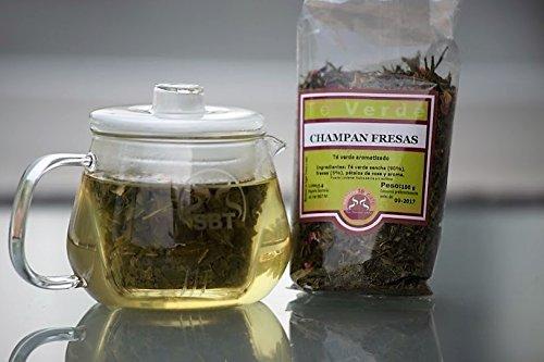 SABOREATE Y CAFE THE FLAVOUR SHOP Té Verde Sencha Japonés Champán con Fresas A Granel En Hoja Infusión Natural Adelgazante 100 gr