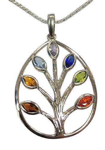 Collar de plata de ley con forma de pera de chakra árbol de