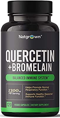 Quercetin with Bromelain Supplement Complex 1300mg Extra Strength - Helps Promote Cardiovascular Health, Immune Function, and Allergy Support - 120 Capsules