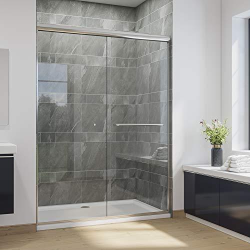 SUNNY SHOWER B020, Frameless Bypass Sliding Shower Doors, 56' - 60' x...