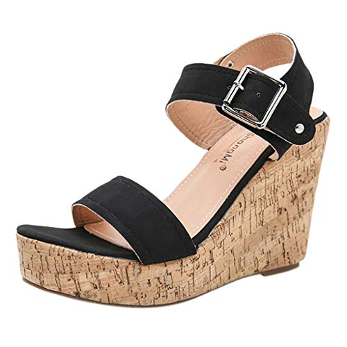 Purchase KCPer Womens Espadrille High Platform Wedge Sandals Open Peep Toe Ankle Strap Buckle Shoes ...