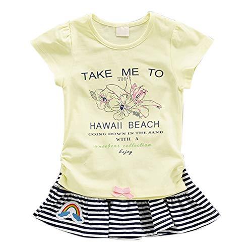 Baywell Baywell Kleinkind Bekleidungs Kinder Kleidung Set Baby Mädchen Set Outfits Kurzarm Tops Brief Drucken T-Shirt + Mini Streifen Rock Kleid Mädchen Lässige Sommerkleidung Sets 2 PCS