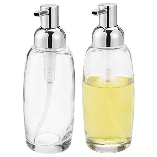 mDesign 2er-Set Seifenspender wiederbefüllbar – Pumpseifenspender aus Glas und Kunststoff – optimal für Küche oder als Badzubehör mit ca. 355 ml Füllmenge – durchsichtig/silberfarben