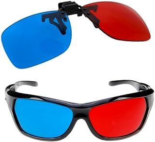 SODIAL(R) 2x 赤、青メガネ 殆ど全ての眼鏡の上から装着できる 3D映画、ゲーム、テレビを楽しめる(1x クリップ式、1x アナグリフスタイル)