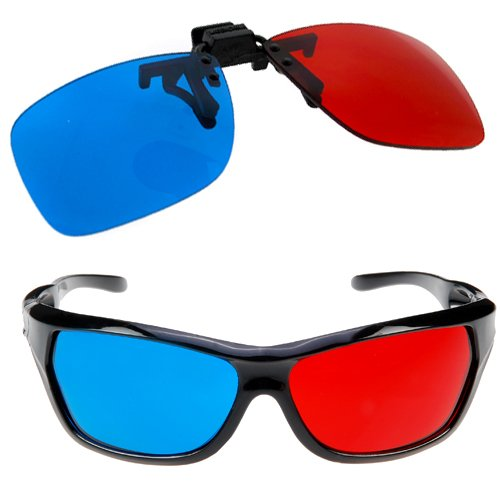 TOOGOO (R) Gafas Rojo-Cian Se Adapta a la Mayoria de Anteojos Recetados para 3D Peliculas Juegos y TV (1 x con Clip; 1x Estilo de Anaglifo)
