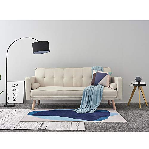 Panana Linen Fabric 3 Seater Sofa Bed Modern Corner Couch Upholstered Settee with 2 Small Cushions for Lounge Living Room Click Clack Mechanism (Beige)