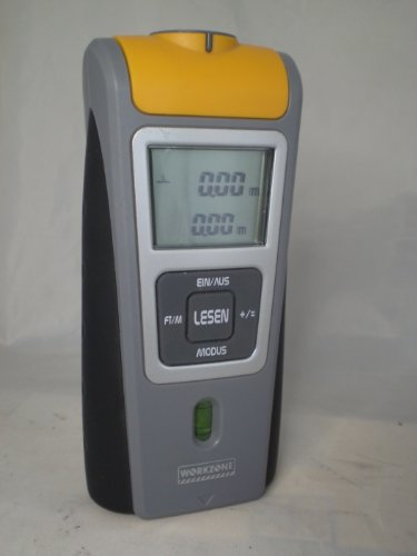 Ultraschall-Entfernungsmesser Workzone GT-UDM-08 [mit Bedienungsanleitung, für Betrieb mit 9V Blockbatterie Größe 6F22] - kein Buch