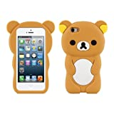 kwmobile Little Bear, Brown/White Silicone Case for Apple iPhone SE / 5 / 5S - Soft Silicone Gel Protective Cover with Cute Design