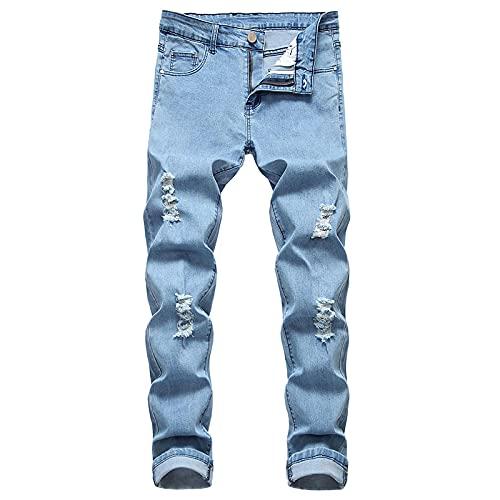 Jeans Vaqueros Pantalon Pantalones Vaqueros Ajustados De Calidad Para Hombre, Pantalones Rectos Para Hombre, Pantalones Vaqueros Con Agujeros Azules Para Hombre, Pantalones De Talla Grande 38 706