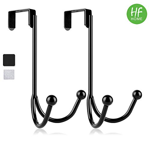 2Packs Over The Door Double Hanger Hooks,HFHOME Metal Twin Hooks Organizer for Hanging Coats, Hats, Robes, Towels- Black