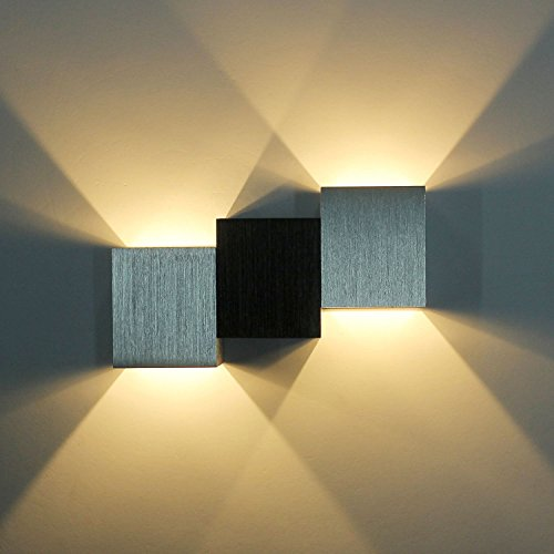 ERWEY LED Wandleuchte Warmweiss 6W up down Effektlampe innen Wandlampe Treppenhaus Flurlampe Aluminum (Typ2 Warmweiß)