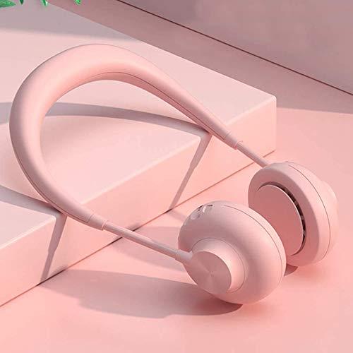 SANJIANG Hängender Halsventilator USB-geladener Mini-Lüfter Ohne Flügel 3 Geschwindigkeiten Und 360-Grad-Drehung Zum Trainieren Bergsteigen Und Einkaufen,Pink