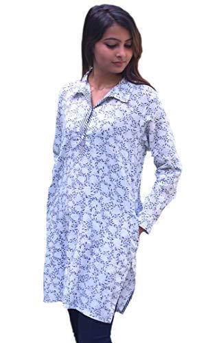 Ayurvastram Madhuri Pure Cotton, Block Print Tunic, Top, Kurti: Leaves Vine: Sz M