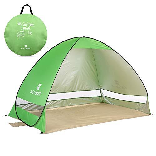 Pop Up Strandmuschel, LOTUSWILD Automatisches StrandZelt Extra Leicht UV-Schutz Portable Beach Zelt für Camping/Outdoor/ BBQ/Garten/Park/Angeln/Strand/Familienaktivitäten im Freien (für 2-4 Personen )