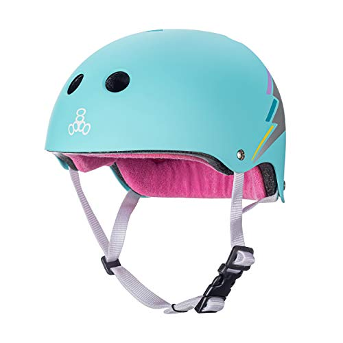 Triple Eight The Certified Sweatsaver Helmet for Skateboarding, BMX, and Roller Skating, Teal Hologram, X-Small/Small
