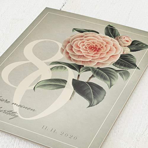 Runder Geburtstag Einladungskarten, Blume, 80. Geburtstag 5er Klappkarten-Set C6, personalisiert mit Wunschtext, wahlweise mit persönlichen Bildern und optional mit passenden Design-Umschlägen