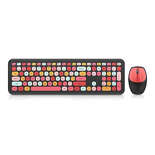 Wowlela Combinaciones de Teclado y Mouse inalámbricos para computadora, máquina de Escribir portátil de 110 Teclas Teclado de Colores Mezclados Teclado inalámbrico Bluetooth para Oficina en casa