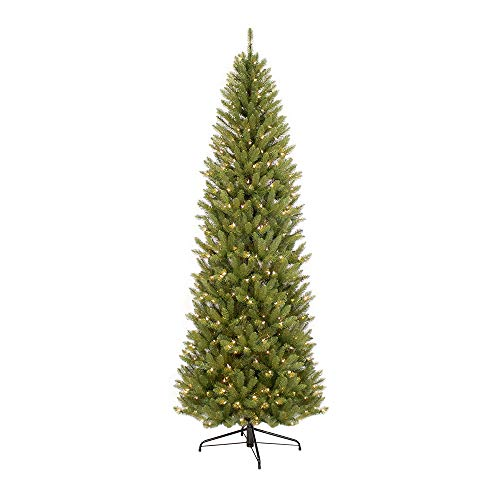 Puleo International 7.5 Foot Pre-Lit Fraser Fir Pencil Artificial Christmas Tree with 350 UL Listed...
