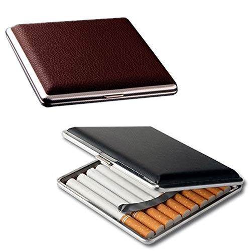 roygra Cigarette Case 85mm 2 Boxes King Size (18-20 Capacity) PU Leather & Metal Sturdy Cigarette Holder Retro (Black + Brown)