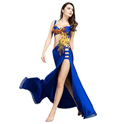 ROYAL SMEELA Bauchtanz Kostüm Set BH und Rock Frauen Bauchtanz Kleid Exquisite Phoenix Totem Bauchtanz Kleidung Anzug Bauchtanz Maxirock Tanz Outfits übergroß