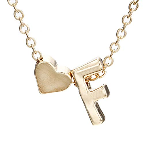 ACEHE Simple Peach Heart-Shaped Letter Necklace Elegant Temperament Wild Boutique 26 Letters Initial Heart Clavicle Chain, Gold