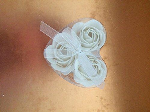 1x Set of 3 Soap Flower Heart Box - White Roses