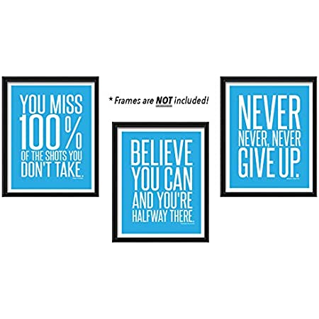 Amazon Com Never Give Up Famous Quotes For Teen Boy Girl Sports Wall Art Decor For Home Office Classroom Aesthetic Posters Prints Pictures Photos Signs For Gym Teal Cyan Turquoise