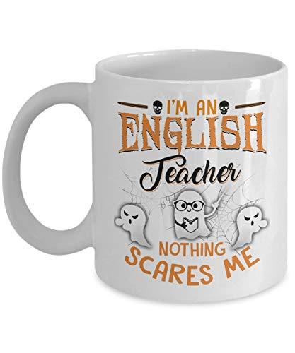 N\A Soy un Profesor de inglés Nada me Asusta - Tazas Negras para té, café Principal - Gran Regalo para Halloween cumpleaños Navidad - por