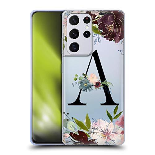 Head Case Designs Licenza Ufficiale Nature Magick Lettera A Monogramma Nero Floreale 1 Cover in Morbido Gel Compatibile con Samsung Galaxy S21 Ultra 5G
