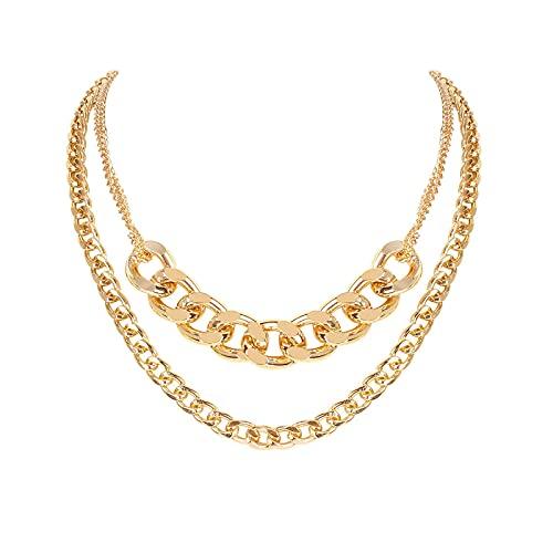 Cadena de cuello para niñas Vintage aleación gruesa cadena doble capas Punk collar