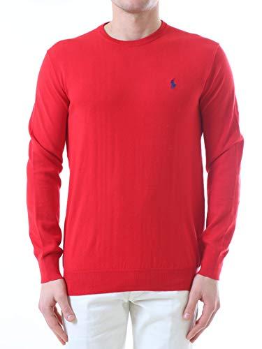 Polo Ralph Lauren Mod. 710744679 Suéter Cuello Redondo Algodón Pima Slim fit Hombre Rojo S